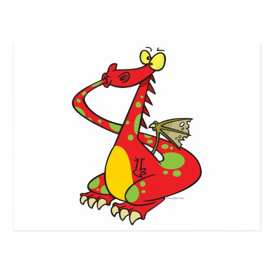 silly dragon with tail in mouth postcard