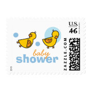 Silly Duckies Blue Baby Boy Shower Stamps stamp