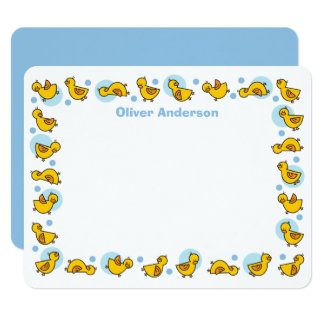 Silly Duckies Blue Baby Shower Thank You Card