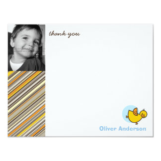 Silly Duckies Blue Kids Birthday Thank You Card