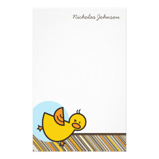 Silly Duckies Blue Kids Thank You Stationery