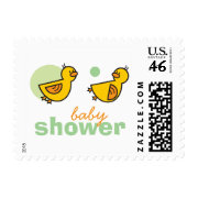 Silly Duckies Green Baby Shower Stamps stamp