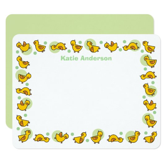 Silly Duckies Green Baby Shower Thank You Card