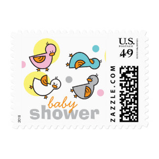 Silly Duckies Pastels Baby Shower Stamps