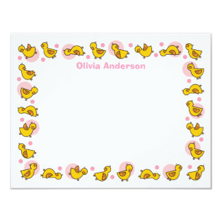 Silly Duckies Pink Baby Shower Thank You Card