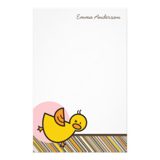 Silly Duckies Pink Kids Thank You Stationery