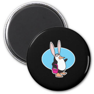 silly easter bunny penguin 2 inch round magnet