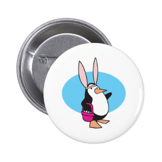 silly easter bunny penguin button