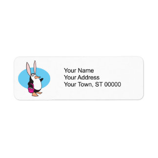 silly easter bunny penguin label