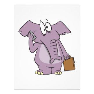 silly elephant on a cellphone cartoon full color flyer