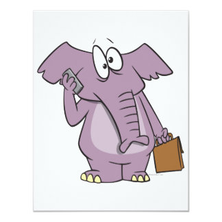 silly elephant on a cellphone cartoon 4.25x5.5 paper invitation card