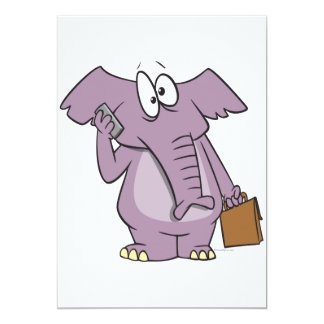 silly elephant on a cellphone cartoon 5x7 paper invitation card