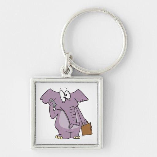 silly elephant on a cellphone cartoon key chains