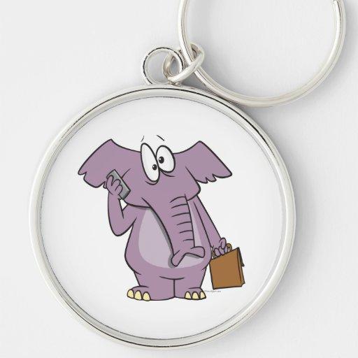 silly elephant on a cellphone cartoon keychain