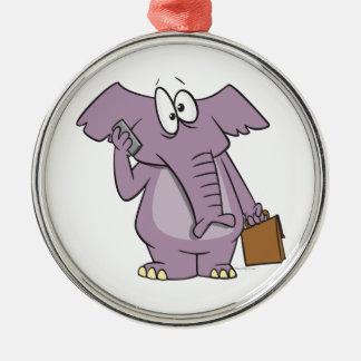silly elephant on a cellphone cartoon christmas tree ornament