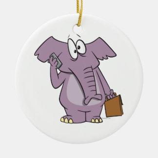 silly elephant on a cellphone cartoon christmas ornaments