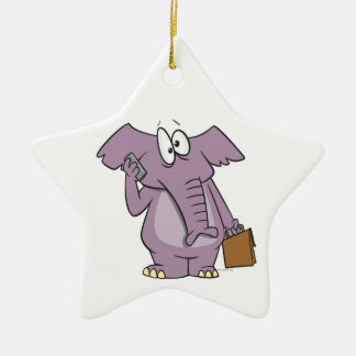 silly elephant on a cellphone cartoon ornament