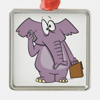 silly elephant on a cellphone cartoon christmas tree ornaments