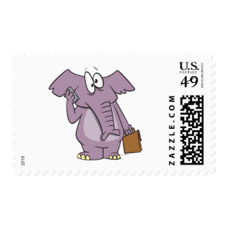 silly elephant on a cellphone cartoon stamp