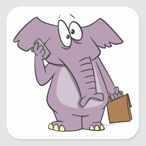 silly elephant on a cellphone cartoon sticker
