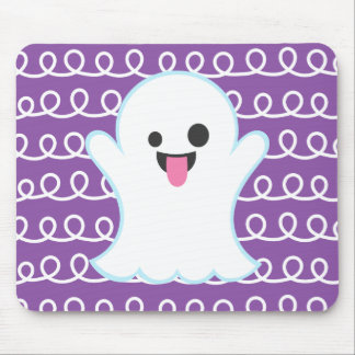 Silly Emoji Ghost (purple swirl) Mouse Pad