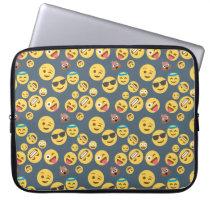Silly Emoji Grey Pattern Computer Sleeve