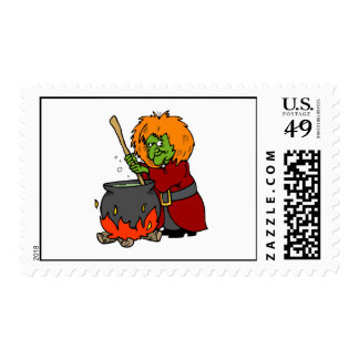 Silly Evil Witch & Cauldron Postage Stamp