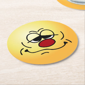 Silly Face: Happy Monday morning to you too Round Paper Coaster