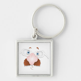 Silly Face with Mustache & Glasses Keychains