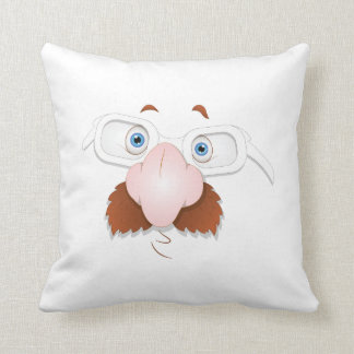 Silly Face with Mustache & Glasses Throw Pillows