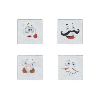 Silly Face with Mustache & Glasses Stone Magnet