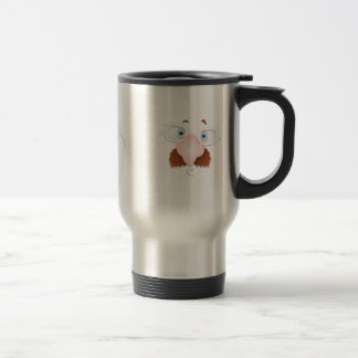 Silly Face with Mustache & Glasses Travel Mug