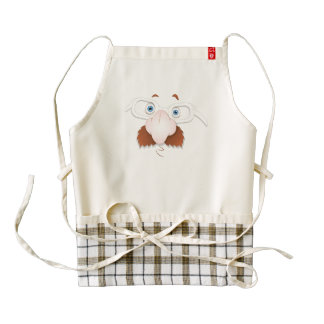 Silly Face with Mustache & Glasses Zazzle HEART Apron