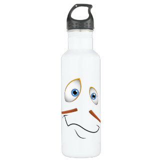 Silly Face with Thin Mustache Water Bottle