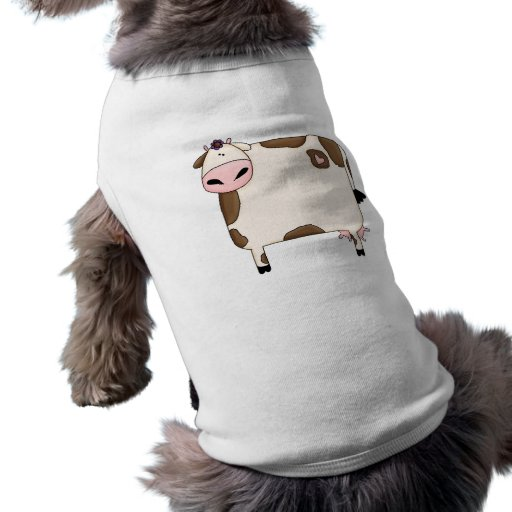 silly fat brown and white cow cartoon pet tee shirt