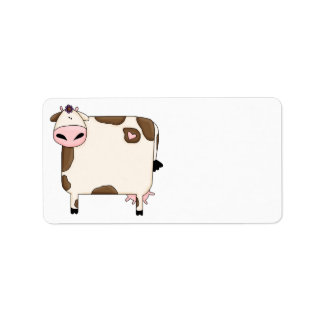 silly fat brown and white cow cartoon label