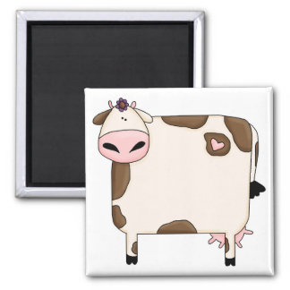 silly fat brown and white cow cartoon magnet