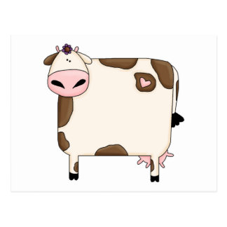 silly fat brown and white cow cartoon postcard