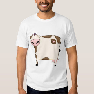 silly fat brown and white cow cartoon t-shirts