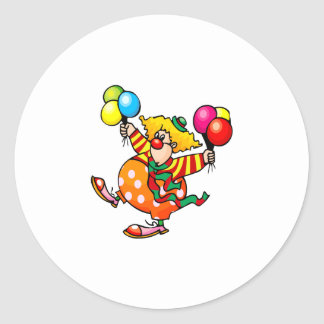 Silly fat clown with balloons classic round sticker