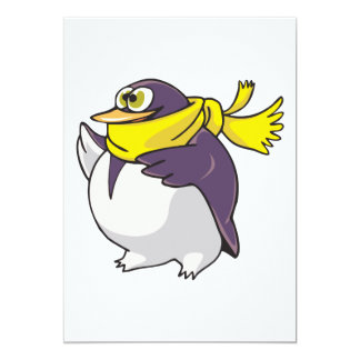 silly fat penguin wearing scarf card