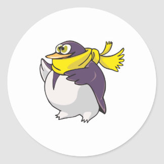 silly fat penguin wearing scarf classic round sticker