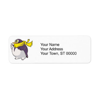 silly fat penguin wearing scarf label