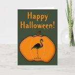[ Thumbnail: Silly Flamingo Halloween Jack-O'-Lantern Pumpkin Card ]