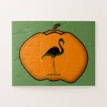[ Thumbnail: Silly Flamingo Halloween Jack-O'-Lantern Pumpkin Jigsaw Puzzle ]