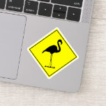 [ Thumbnail: Silly Flamingo Silhouette Traffic Sign Inspired Sticker ]