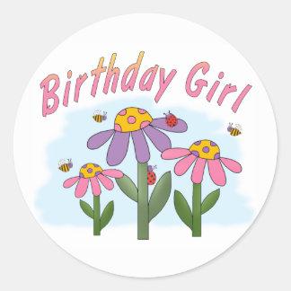 Silly Flowers Birthday Girl Classic Round Sticker