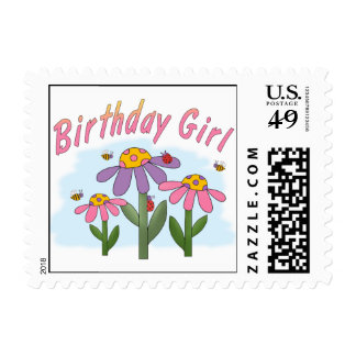 Silly Flowers Birthday Girl Postage Stamps
