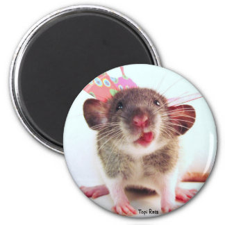 Silly Flutterby Rat 2 Inch Round Magnet