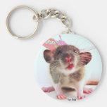 Silly Flutterby Rat Basic Round Button Keychain